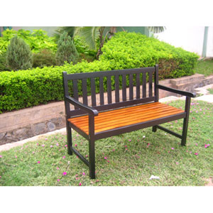 Acacia Wood Antique Black Outdoor Four Ft. Bench