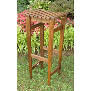 Acacia Wood Backless Bar Stool-Set of Two