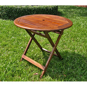 Acacia Wood 32-Inch Round Folding Table