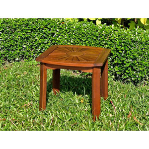 Acacia Wood Square Outdoor Sunburst Side Table