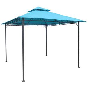 Square Vented Canopy Gazebo, Aqua Blue