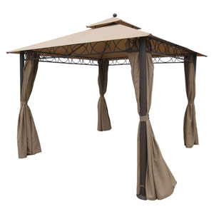 Square 10 Foot Double Vented Gazebo With Drapes