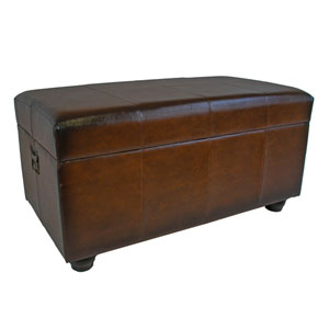 Faux Leather Bench Trunk w/Lid