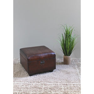 Faux Leather Ottoman Trunk w/Lid, Saddle Brown