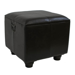 Square Faux Leather Ottoman w/Lid, Dark Brown