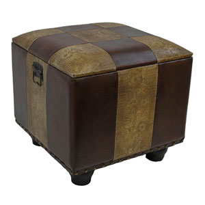 Mixed Patch Work Square Ottoman with Lid