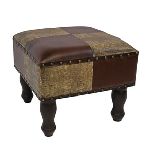 Mixed Patch Work Square Stool