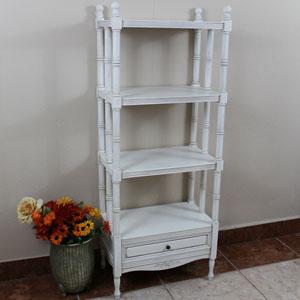 Acacia Antique White Carved Wood Windsor Four Tier Bookshelf