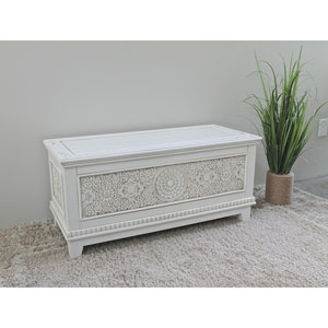Windsor Antique White Carved Wood Trunk