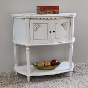 Windsor Carved Wood Two Door Console Table-Antique White, Antique White