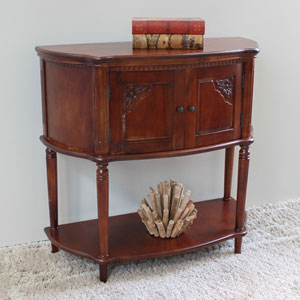 Windsor Carved Wood Two Door Console Table-Stain, Stain