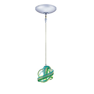 Envisage VI Chrome One-Light Low Voltage Knot Mini Pendant with Blue and Green Shade