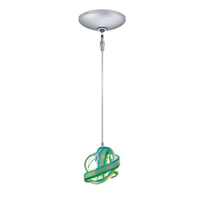 Envisage VI Satin Nickel One-Light Low Voltage Knot Mini Pendant with Blue Green Glass
