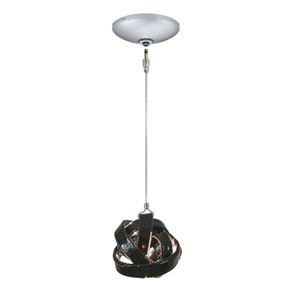 Envisage VI Satin Nickel One-Light Low Voltage Thick Knot Mini Pendant with Black Shade
