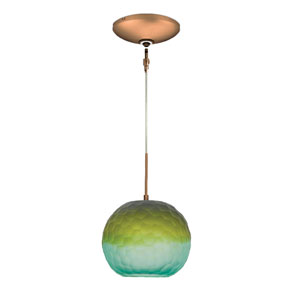 Envisage VI Bronze One-Light Low Voltage Mini Pendant with Blue and Green Shade