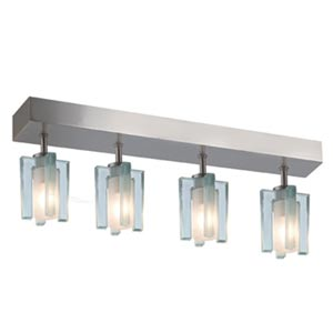 Akina Satin Nickel Four-Light Sem-Flush with Clear-Frosted Glass
