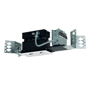 White Two-Light Low Voltage Linear New Construction Fixture