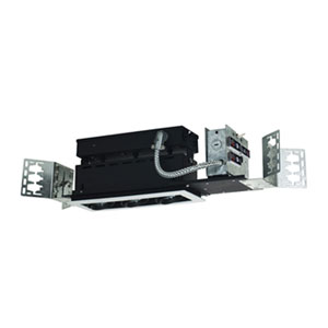 Black Three-Light Low Voltage Linear New Construction Fixture with White Trim