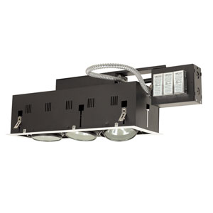 Black Three-Light Low Voltage Remodel Double Gimbal Recessed Fixture with White Trim