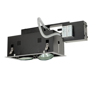 Black Two-Light Low Voltage Remodel Double Gimbal Recessed Fixture with Silver Trim
