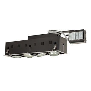 Black Four-Light Low Voltage Remodel Double Gimbal Recessed Fixture with Silver Trim