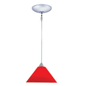 Selma Chrome One-Light Low Voltage Mini Pendant with Red Shade