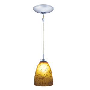 Goblet Chrome One-Light Low Voltage Mini Pendant with Amaretto Shade