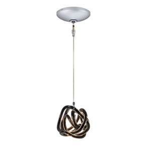 Envisage VI Satin Nickel One-Light Low Voltage Knot Mini Pendant with Black Shade