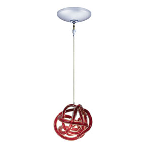 Envisage VI Chrome One-Light Low Voltage Mini Pendant with Red Shade