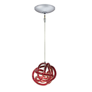 Envisage VI Satin Nickel One-Light Low Voltage Mini Pendant with Red Shade