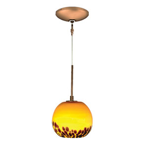Envisage VI Bronze One-Light Low Voltage Globe Mini Pendant with Amber Detail Shade