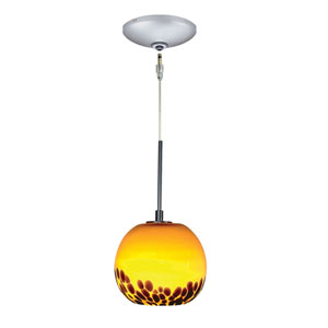 Envisage VI Satin Nickel One-Light Low Voltage Globe Mini Pendant with Amber Shade
