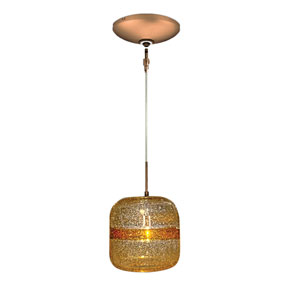 Envisage VI Bronze One-Light Low Voltage Mini Pendant with Amber Stripe Shade