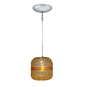 Envisage VI Satin Nickel One-Light Low Voltage Mini Pendant with Amber Stripe Shade