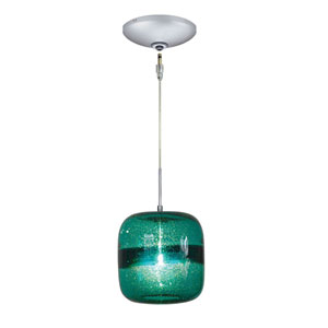 Envisage VI Satin Nickel One-Light Low Voltage Mini Pendant with Teal Shade