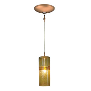 Envisage VI Bronze One-Light Low Voltage Cylinder Mini Pendant with Amber Shade