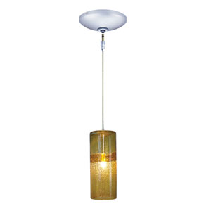 Envisage VI Chrome One-Light Low Voltage Cylinder Mini Pendant with Amber Shade