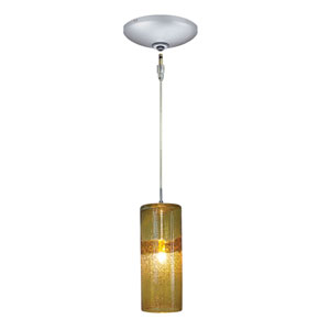 Envisage VI Satin Nickel One-Light Low Voltage Cylinder Mini Pendant with Amber Shade