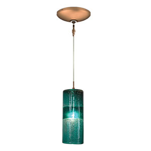 Envisage VI Bronze One-Light Low Voltage Cylinder Mini Pendant with Teal Shade