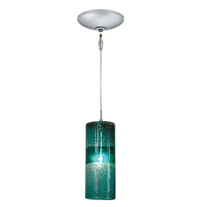 Envisage VI Satin Nickel One-Light Low Voltage Cylinder Mini Pendant with Teal Shade
