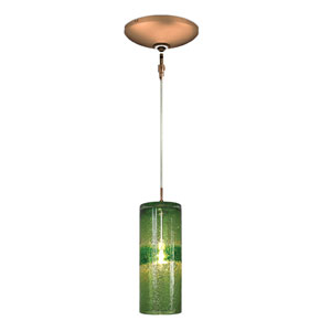 Envisage VI Bronze One-Light Low Voltage Cylinder Mini Pendant with Green Glass
