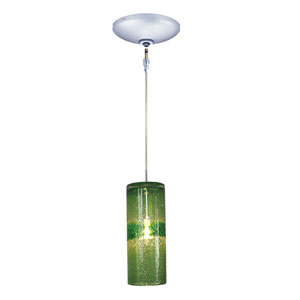 Envisage VI Chrome One-Light Low Voltage Cylinder Mini Pendant with Green Glass