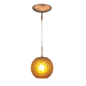 Envisage VI Bronze One-Light Low Voltage Globe Mini Pendant with Amber Shade