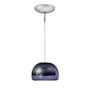 Envisage VI Satin Nickel 6-Inch One-Light Low Voltage Mini Pendant with Purple Shade