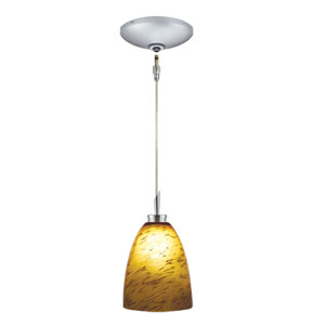 Goblet Satin Nickel Low Voltage Pendant and Canopy Kit with Amaretto Glass