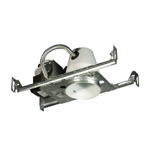 Silver 4-Inch One-Light Low Voltage Non IC Airtight Universal Housing, New Construction