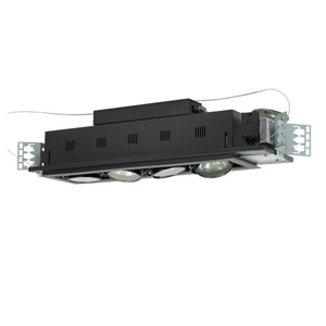 Black Four-Light Low Voltage New Construction Double Gimbal Recessed with Silver Trim