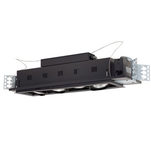 Black Four-Light New Construction Double Gimbal Linear Recessed with Silver Trim