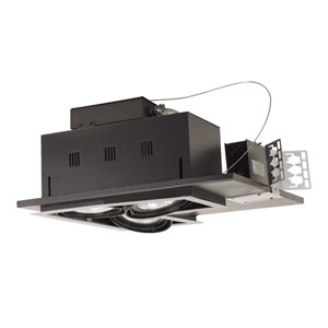 Black Three-Light New Construction Double Gimbal Linear Recessed with White Trim