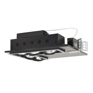 Black Five-Light New Construction Double Gimbal L-Corner Recessed Fixture